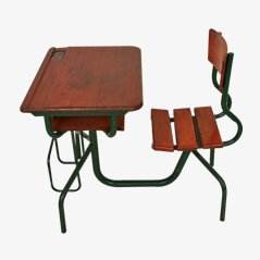 Conjunto de escritorio y silla francés Mid-Century