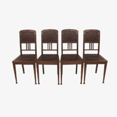 Antique Art Nouveau Chairs, Set of 4