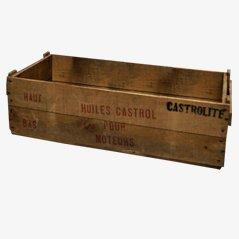Caja Castor Oil de madera, años 50