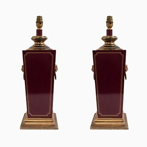 Burgundy Bakelite & Brass Lion Heads Table Lamps, 1960s, Set of 2