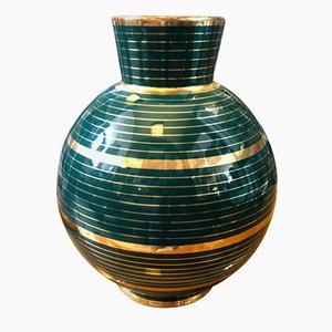 Vaso Mid-Century moderno in ceramica verde e oro con motivi di Gio Ponti