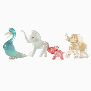Italienische Vintage Tierfiguren aus Muranoglas, 4er Set