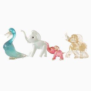 Vintage Italian Murano Glass Animal Figures, Set of 4