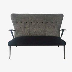 Belgisches Vintage Sofa mit Grauem Stoffbezug