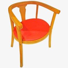 Vintage Kinderstuhl mit rotem Sitz