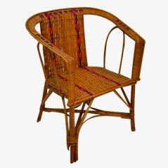 Vintage Children's Wicker Chair, 1950s