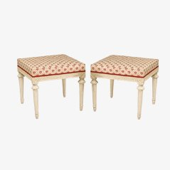 18th Century Swedish Carved Wood Stools, Set of 2