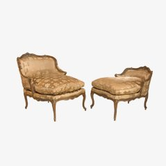 Duchesse Brisée Antique Louis XV en Noyer Sculpté, Set de 2