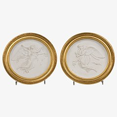 Antique Biscuit Medallions, 19th Century, Set of 2