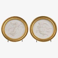 Medallones antiguos de porcelana biscuit, siglo XIX. Juego de 2
