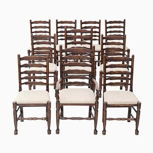 Georgian Revival Oak Dining Chairs, 1920s, Set of 10
