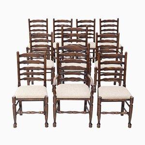 Neogeorgianische Esszimmerstühle aus Eiche, 1920er, 10er Set
