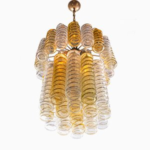 Swirl Chandelier with Twisted Amber & Clear Murano Glass by Paolo Venini for Venini, 1960s