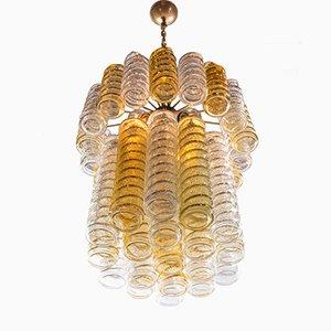 Swirl Kronleuchter aus gedrehtem Muranoglas in Bernsteingelb & Klarglas von Paolo Venini für Venini, 1960er