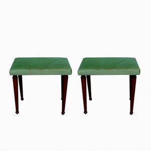 Mid-Century Stools in Velvet and Wood, Set of 2