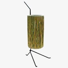 Dreibein Lampe aus Raffiabast von Jacques Biny, 1950er