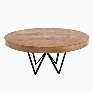 Maurits Round Marquetry Table in Reclaimed Oak by Fred&Juul