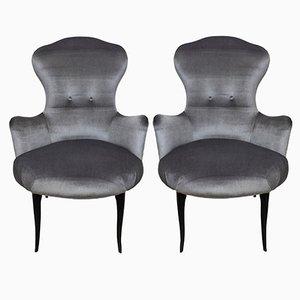 Italian Velvet Easy Chairs, 1950s, Set of 2