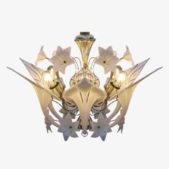 Italian Canna Lily Chandelier by Murano