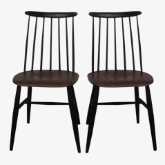 Beech & Teak Chairs by Ilmari Tapiovaara, Set of 2