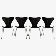 Series 7 Butterfly Chairs by Arne Jacobsen for Fritz Hansen, 1960s, Set of 4
