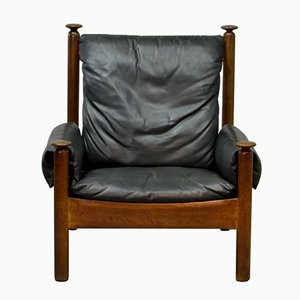 Black Leather Scandinavian Lounge Chair, 1960s
