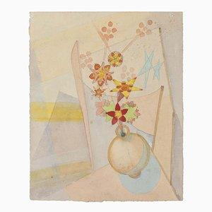 Blumenvase - Original Zeichnung - 20th Century Mid 20th Century