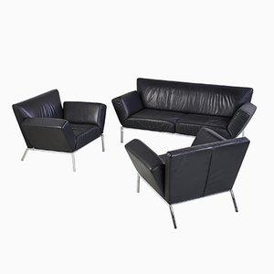 Juego de sofás de cuero negro de COR