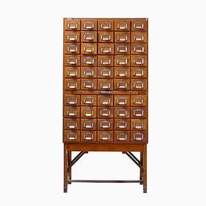 Tall Hungarian Industrial Library Card Cabinet, 1950s
