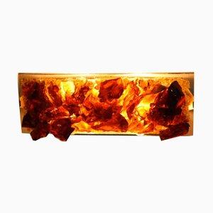 Lampada da parete in vetro bronzato di Cosack