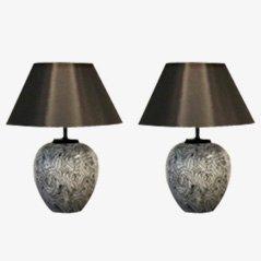 Lámparas de mesa grandes de cerámica de Pander, años 70. Juego de 2