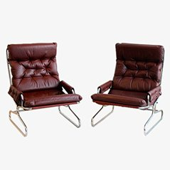 Vintage Burgundy Lounge Chair, 1960s, Set of 2