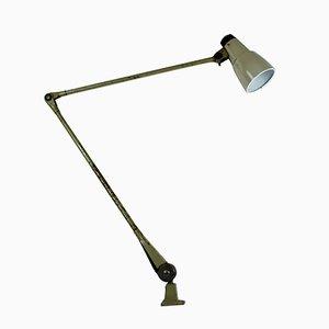 Lampada da tavolo con braccio regolabile e paralume smaltato grigio di Ernst Rademacher, anni '70