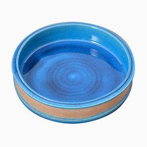 Dänische vintage Keramik Schale in Türkis von Nils Kähler