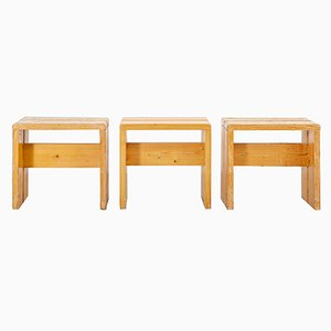 Mid-Century Les Arcs Pine Stools by Charlotte Perriand, Set of 3