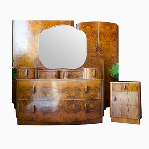 Art Deco Walnut Bedroom Suite with Wardrobes, Dressing Table, Bedside Cabinet and Headboard, Set of 5