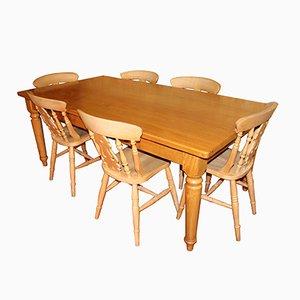 Tavolino rustico in pino con sei sedie, anni '80