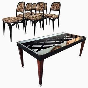 Juego de mesa de comedor extensible y sillas, años 50. Juego de 7