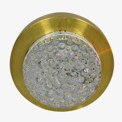 Lámpara de techo bohemia de cristal y metal, años 60