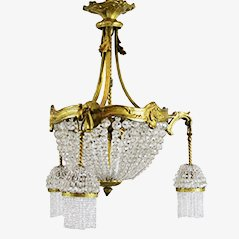 French Bronze and Crystal Chandelier, 1920s