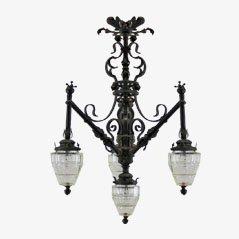 Lámpara de techo francesa Art Nouveau, década de 1900