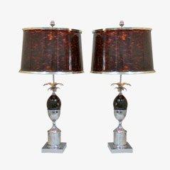 Lámparas de escritorio vintage de acero de Maison Charles. Juego de 2