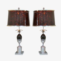 Vintage Steel Desk Lamps by Maison Charles, Set of 2