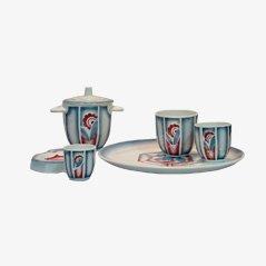 Art Deco Keramik Raucher Set von Saguerremines