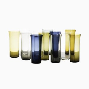 Mid-Century Model 1725 Glass Vases by Kaj Franck for Nuutajärvi Notsjö, Set of 12