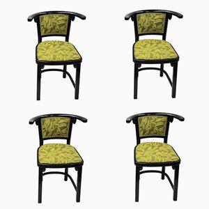 Fledermaus Armlehnstühle aus Bugholz von Josef Hoffmann für Thonet, 1980er, 4er Set