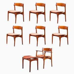 Juego de sillas de comedor y taburete de Erik Buch para O.D. Møbler, años 60