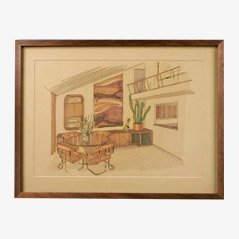 Framed Interior Drawing, 1950s