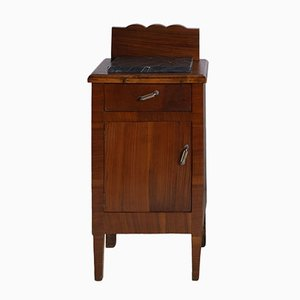 Antique Art Nouveau Italian Solid Walnut Nightstand