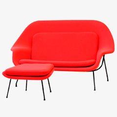 Womb Sofa und Ottoman von Eero Saarinen für Knoll, 1950er